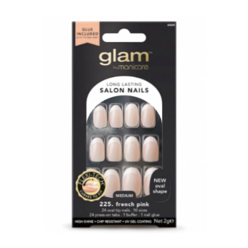 Glam by Manicare Glue On Nails French Oval Pink Med