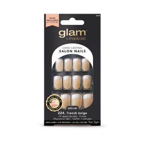 Glam by Manicare Glue On Nails French Sq Beige Med