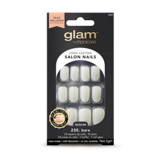Glam by Manicare Glue On Nails Bare Sq Med