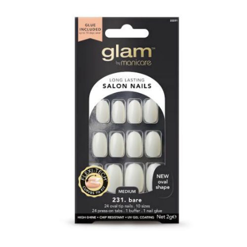 Glam by Manicare Glue On Nails Bare Oval Med