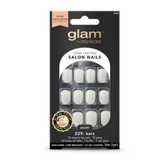 Manicare Glam Glue On Nails Bare Sq Short